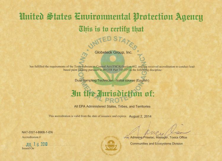 Globeteck CHMM Certificate